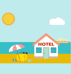 hotel on the beach with baggage and umbrella vector image