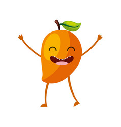 Mango fresh fruit kawaii character vector