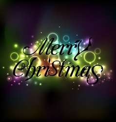 Merry christmas floral text design shimmering vector