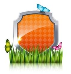 Orange shield vector