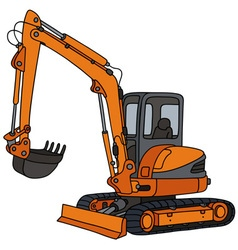 Orange small excavator vector