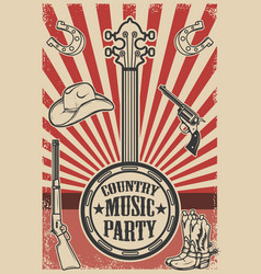 Ountry music party poster template vintage banjo vector