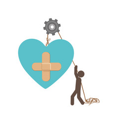 People with pulleys hanging the heart with aid vector