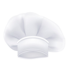 Photorealistic white chef or cook or bakers hat vector