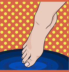 Pop art female foot falls into hot or cold water vector