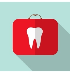 Red medical bag with a tooth sign long shadow vector