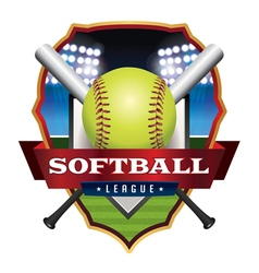 Softball league badge emblem icon vector