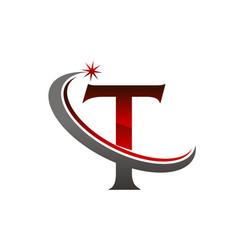 Star swoosh letter t vector