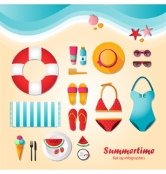Summertime flat lay infographics vector
