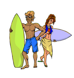 Surfers - woman and man vector