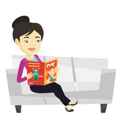 Woman reading magazine on sofa vector