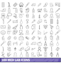 100 med lab icons set outline style vector