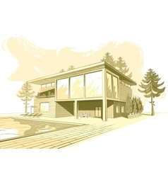 sepia background with modern house with swimming vector image