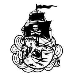 Skull ship vector
