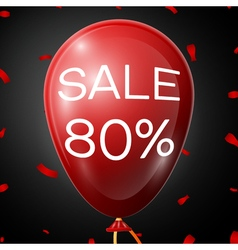 Red baloon with 80 percent discounts over black vector