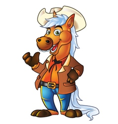 Pony in cowboy suit vector