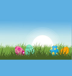 Landscape of easter egg on hill vector