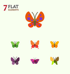 flat butterfly set of moth violet wing butterfly vector image