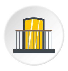 Balcony with iron railing i icon circle vector