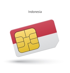 Indonesia mobile phone sim card with flag vector