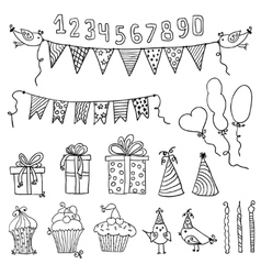 Birthday party elements vector