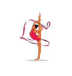 Gymnastics with ribbon sign vector