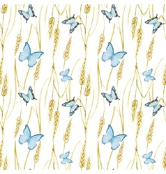 Butterfly and wheat pattern vector