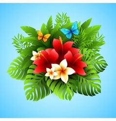 With tropical plants and vector