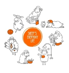 Everyday life of a little sheep vector