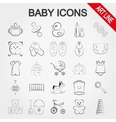 Collection of cute baby icons vector