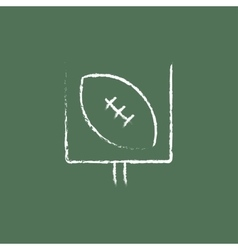 Gate and ball for rugby icon drawn in chalk vector