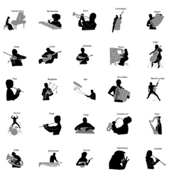 Musicians silhouette set icons simple style vector