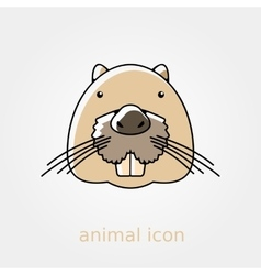 Otter beaver flat icon animal head vector