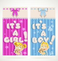 Blue for boy and pink for girl vertical banner vector