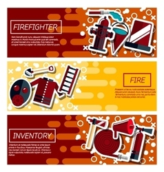 Set of horizontal banners about firefighter vector