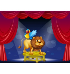 A circus showing the lion and the parrot vector image