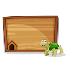 A turtle in front of an empty board vector image vector image