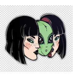 alien from outer space face in disguise as a girl vector image vector image