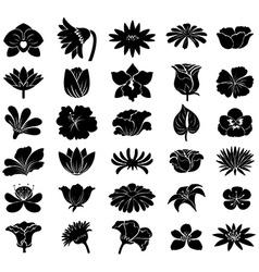 Black floral templates vector image
