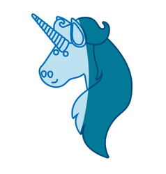 blue silhouette of face side view of male unicorn vector image