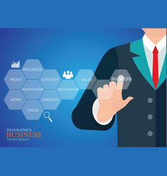 Businessman hand touching button key to success vector