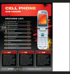 cell phone promotional brochure vector image vector image
