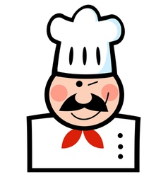 Chef Man Face Black Cartoon Mascot vector image vector image