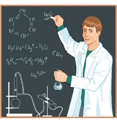 Chemist at blackboard vector image