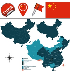 China map with named divisions vector