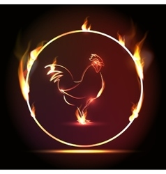Cock on fire chinese calendar vector