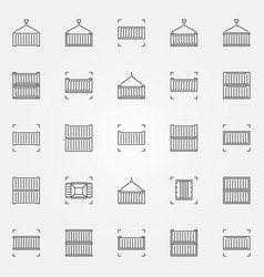 container line icons set vector image vector image