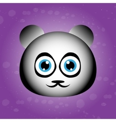 Cute face of panda on violet backgraound vector