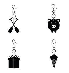 Earrings icon set vector