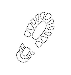 Footprint boot sign black dashed icon on vector